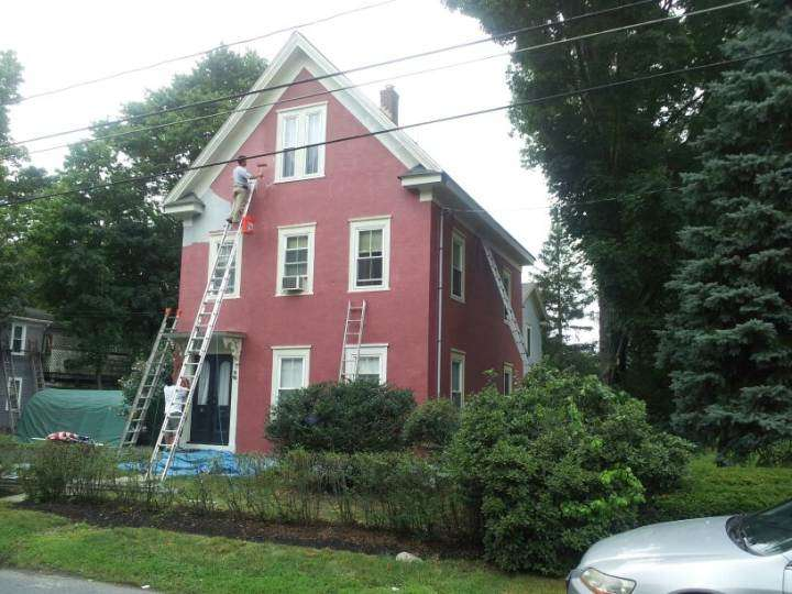 Exterior Painting from gray to a beautiful red!
