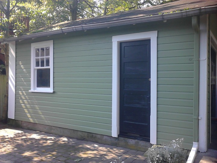 Exterior Painting of a Garage in Jamaica Plain, MA