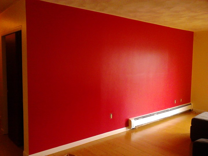 Before and After Interior Painting - going from orange to a beautiful red in Randolph, MA