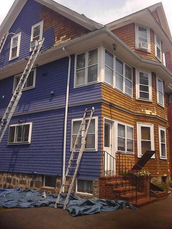 Exterior Painting, Color Changing on an old Victorian home in Winthrop, MA